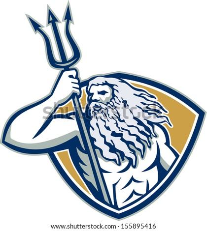 Illustration Roman God Sea Neptune Poseidon Stock Illustration