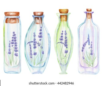 Illustration romantic and fairytale watercolor bottles with tender lavender flowers inside, hand drawn isolated on a white background