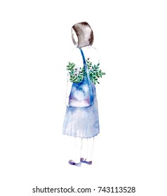 Illustration of romantic girl in blue dress and bouquet in hands. Silhouette of young girl in watercolor style on a white background.