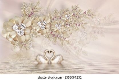 Illustration of romantic golden swan over water. floral ornamental pattern on texture surface background 3D Wallpaper. Graphical Poster Modern art