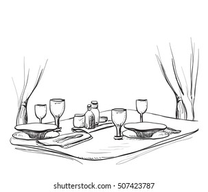 illustration of a romantic table for two. Dinner.