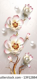 Illustration of romantic white flower on decorative texture background 3D wallpaper. Graphical poster modern art