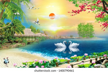 Illustration of romatic swan couple over blue lake water natural decorative sunshine background 3D wallpaper. Graphical modern art. Natural Scenery