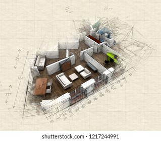 Illustration of  a roofless architecture model showing an apartment interior fully furnished