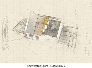 Illustration of  a roofless house on top of architect plans