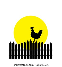 Illustration of rooster silhouette, rooster crowing, rooster weathervane, rooster raster, farm, rooster icon, chicken