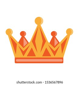 illustration of a royal crown in cartoon style golden with orange.