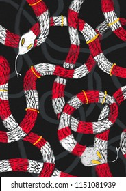 Illustration with royal snakes pattern. Hand draw.