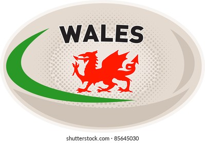 illustration of a rugby ball with Welsh dragon and words Wales on isolated white background