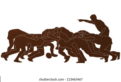 illustration of rugby players in a scrum on isolated white background on metallic texture.