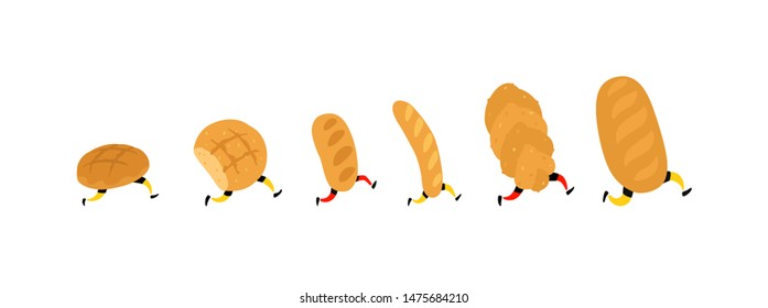 Illustration of running bread. Rolls, loaf and baguette. Icons for the site on a white background. Signs, logo for the store. Delivery of fresh bakery products. Characters for the bakery.