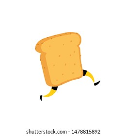 Illustration of a running toaster. Running a piece of bread. Crunchy character with legs. Icon for the site. Sign, logo for the store. Delivery of fresh bakery products.