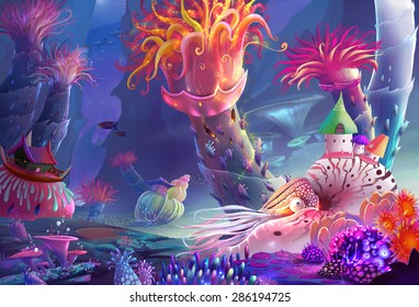 Illustration: The Running Water World - You may not noticed, the most magical thing here is that you can just breath the water! Even as the human being! - Scene Design - Fantastic Style