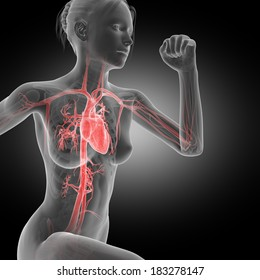 illustration of a running woman - visible heart