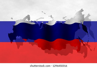 Illustration of a Russian flag with a contour of its borders