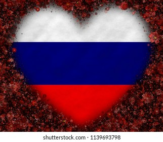 Illustration of a Russian flag with a frame of a hearts shape