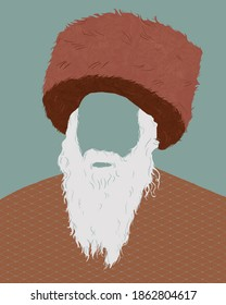 Illustration of a Russian fur ushanka hat with old man.