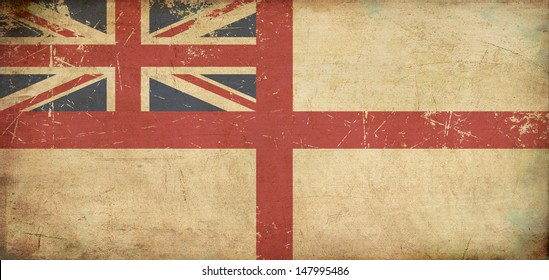 """Illustration of a rusty British Naval  flag of the period 1606-1801 also known as """"The King's Colours"""", printed on old paper."""