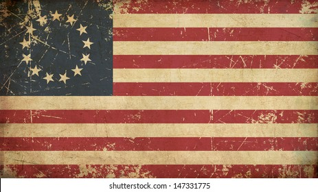 Illustration of an rusty, grunge, aged American Betsy Ross flag.