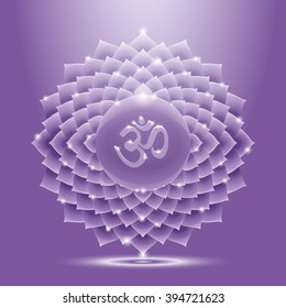 Illustration sahasrara with om mantra. Chakra glossy icon. The concept of violet crown chakra for design at India stile.