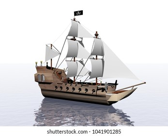 Illustration Sailboat On The Sea and sky - 3d rendering