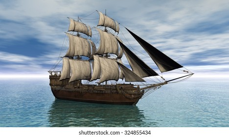 Illustration of a sailing ship on a calm ocean, 3d digitally rendered illustration