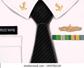 Illustration of sailor shirt with a tie and an accessories
