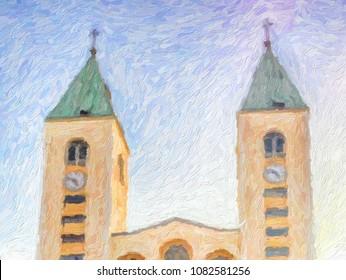 illustration of Saint James Parish Church in Medjugorje