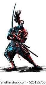 Illustration of a samurai ready to take the fight