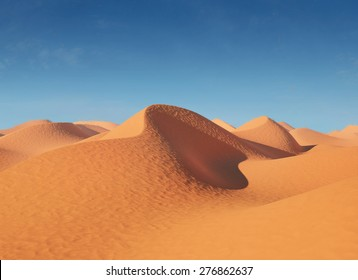 Illustration of sand dunes in the desert. In a very hot sunny day . 3d illustration High resolution