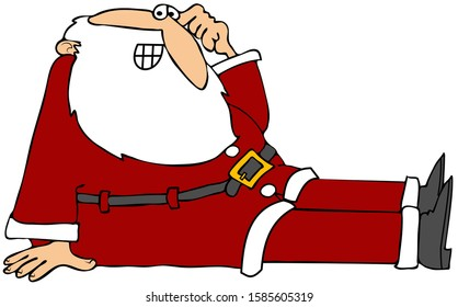 Illustration of Santa Claus after he fell on his butt, scratching his head.