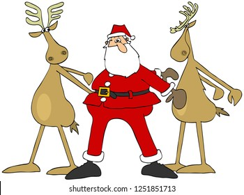 Illustration of Santa Claus doing the floss dance with two of his reindeer.