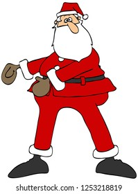 Illustration of Santa Claus doing the floss dance with arms to the front.