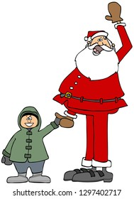 Illustration of Santa Claus holding a small boys hand.