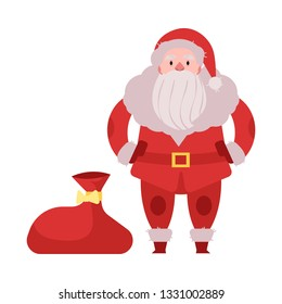 illustration of Santa Claus in red costume and hat standing with big bag of gifts and presents isolated on white background - Christmas and New Year congratulation element in flat style.