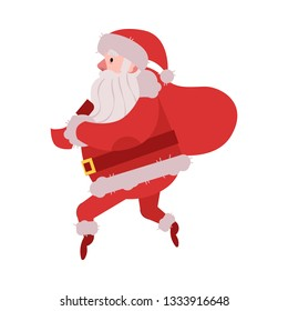 illustration of Santa Claus in red costume and hat sneaking with big bag of Christmas and New Year gifts and presents behind his back isolated on white background in flat style.