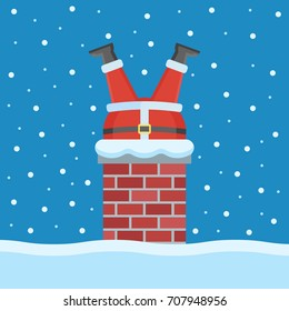 Illustration of Santa Claus stuck in the chimney on the roof in Christmas Eve.