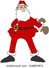 Illustration of Santa Clause swing his arms to the back and doing the floss dance.