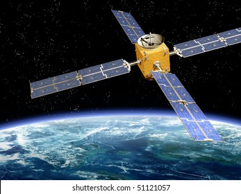 Illustration of a satellite orbiting the earth