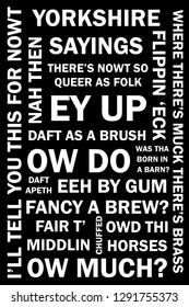 An illustration of sayings from the county of Yorkshire in England.