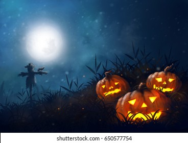 illustration scarecrow, halloween night farm,dark fantasy painting, horror full moon.