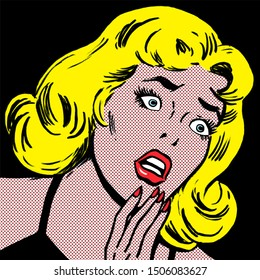 illustration of a scared woman in the style of 60s comic books, pop art