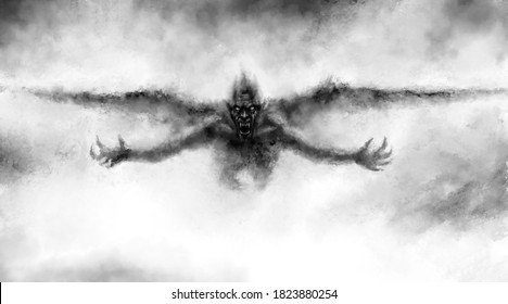 Illustration of scary flying vampire with wings. Fantasy drawing for creepy Halloween. Black and white horror genre picture. Spooky face of beast from nightmares. Grunge, coal and noise effects.