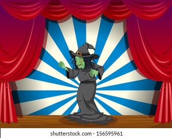 Illustration of a scary old witch at the stage