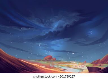 Illustration: The Scene on a Strange Planet Before the Storm Comes. Realistic Style. Sci-Fi Topic. Scene / Wallpaper / Background Design.