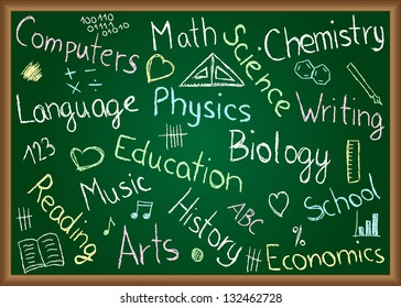 Illustration of school subjects and doodles drawn on chalkboard