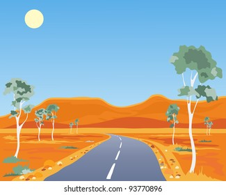 an illustration of a scorched australian outback landscape with gum trees highway and ochre hills under a blue sky