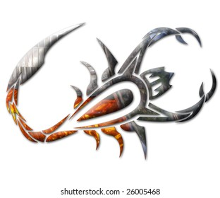 Illustration of a scorpion in chrome