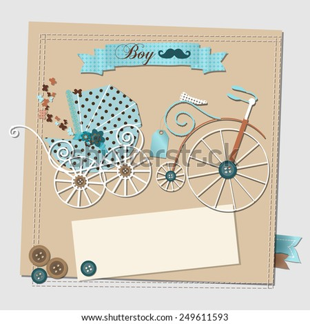 Illustration scrapbooking baby shower invitation card stock illustration of the scrap booking baby shower invitation card with the vintage stroller and bicycle filmwisefo