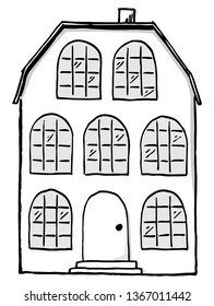 illustration of a scribbled house in black and white